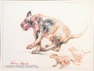 MALE DOG RUNNING WITH PUPPIES, 2014 -SOLD