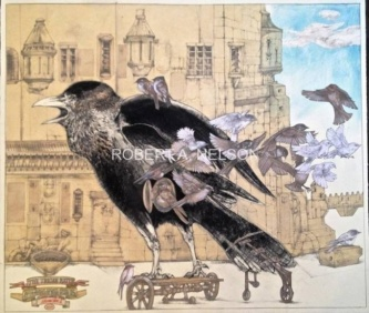 Robert A. Nelson |  The Trojan Raven, 2014 |  Collage- Pencil, Color Pencil, Watermedia |  31 x 36 |  $3,500.  SOLD