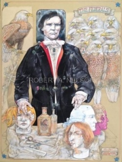 Robert A. Nelson |  Thaddeus Stevens Buys a Wig, 2014  |  Collage- Pencil, Color Pencil, Watermedia |  30 X 40  | framed  $4,000.  SOLD