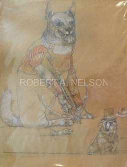 Robert A. Nelson  |  Brown Paper Bag Rough  for Bowman Drawing , 2011 |  Pencil, Color Pencil |  27 x 21 |  $550. SOLD
