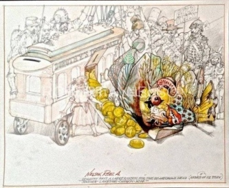 Robert A. Nelson |  Dorothy pays a large ransom for the scarecrows head, 2014  |  Pencil, Color Pencil, Watermedia |  14 x 17  |  $750. SOLD