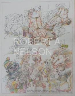 Robert A. Nelson |  First Parts for a Giant Scuplture , 2013 |  Pencil, Color Pencil, Watermedia |  14 x 11 |  $750. SOLD