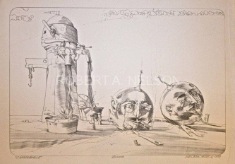 Robert A. Nelson  |  Cannonballs, 1976 Release from the Vault |  Lithograph |  18 x 26 |  $600. SOLD