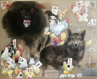 Robert A. Nelson |   2 Big Dog Guards, 2020 |  Collage- pencil, colored pencil, aquamedia |  32 x 40 |  SOLD- Early Release: 100% was generously donated to LGH Covid-19 Response Fund earlier this year.