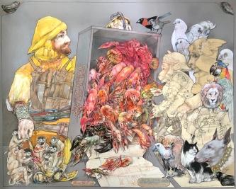 Robert A. Nelson |   Fish Monger, 2020 |  Collage- pencil, colored pencil, aquamedia |  32 x 40 |  SOLD