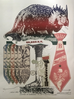 Robert A. Nelson |   Released from the Vault |  Bombs of Barsoom,  1971 |  Collage: Etching |  27 1/2 x 36  | unframed  $2,000. SOLD