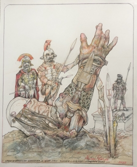 Robert A. Nelson |   Lego X Officers Discover a God's Arm , 2020 |  Pencil, colored pencil, aquamedia |  17 x 14 |  $1,500. SOLD