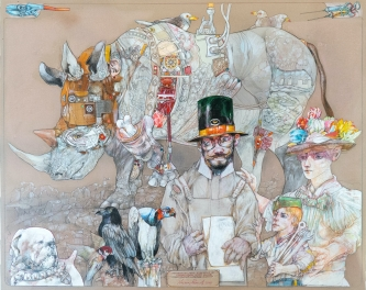 Robert A. Nelson |  Frankenstein Saves the Rhino, 2020 |  Collage: Pencil, colored pencil, aqua media |  32 x 40 |  $12,000. SOLD