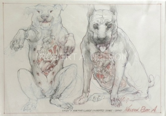 STUDY 5 FOR TWO LARGE OVERFED DOGS, 2010 - SOLD
