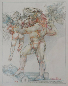 The Destruction of Icarus by Minotaur,  2012 |  Pencil, Color Pencil, Watermedia |  14 x 11 |  $500. SOLD