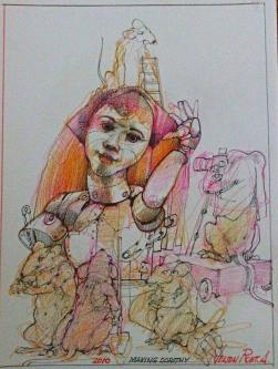 Robert A. Nelson  |  Making Dorothy, 2010 |  Pencil, colored pencil, aqua-media |  11 x 8 |  $400. SOLD
