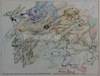 ROUGH STUDY OF DOGS OF HEAVEN, 2010  - SOLD