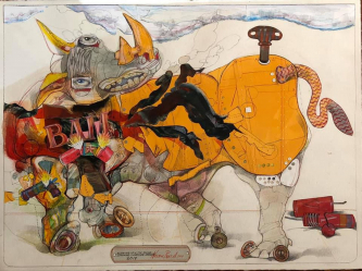 Robert A. Nelson |   Blowing Up a Tin Rhino, 2019  |  Collage- pencil, colored pencil, aquamedia  |  22 x 30 | framed  |  $5,500. SOLD