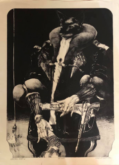Robert A. Nelson  |  King of Cats, 1992 |  Lithograph- 20 Imps |  40 x 30 | framed |  $3000. SOLD