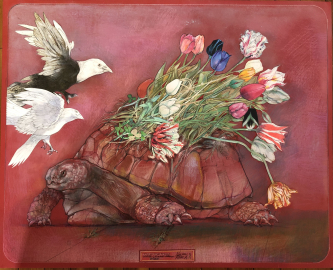 Robert A. Nelson |  Tortoise Tulips , 2020 |  Collage- Pencil, colored pencil, aqua media |  32 x 26 |  $5,000. | SOLD