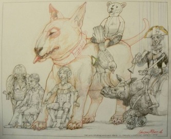 Robert A. Nelson  |  The White Dog and His Toys, 2016 |  Pencil, Color Pencil, Watermedia  |  14 x 17  |  $800. SOLD