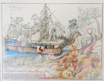 Robert A. Nelson |  Garth the Giant Octopus |  Collage- Pencil, Color Pencil, Watermedia |  14 x 17 |  SOLD