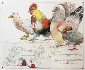 Robert A. Nelson |  TV for Barnyard Birds, 2020 |  Collage: Pencil, colored pencil, aqua media |  14 x 17 |  $1,500. SOLD