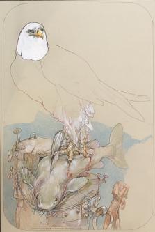 Robert A. Nelson |  Lunch, 2020 |  Collage: Pencil, colored pencil, aqua media |  22.38  x 18 |  $2,200. SOLD