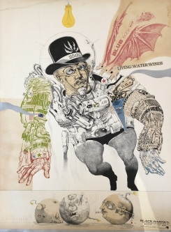 Robert A. Nelson |  Released from the Vault |  Black Barney: A friend of Buck Rogers, 1979 |  Collage: Etching |  29.75 x 40 |  $4,000. SOLD