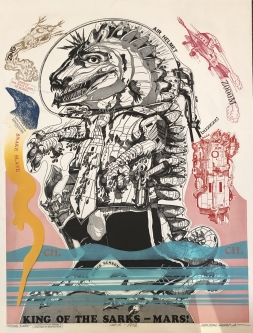 Robert A. Nelson |  Released from the Vault |  King of the Sarks - Mars |  Collage: Etching, 1972 |  37 x 28 |  SOLD