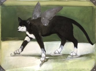 Robert A. Nelson |  Released from the Vault |  Watch Socks Skate, 1993 |  Oil on paper |  22.5 x 30 |  $10,000. SOLD