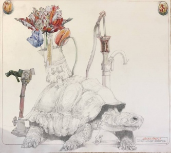 Robert A. Nelson  |  The Last Tortoise, 2018 |  Collage- Pencil, Color Pencil, Watermedia |  34 x 31 | framed |  $2,000. SOLD