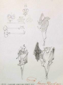Robert A. Nelson |  Bats, 2017 |  Pencil |  12 x 9 |  $75. SOLD