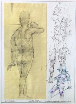 ROBERT A. NELSON  SWORDSMEN  Pencil, Color Pencil 12 x 9  $50. -SOLD