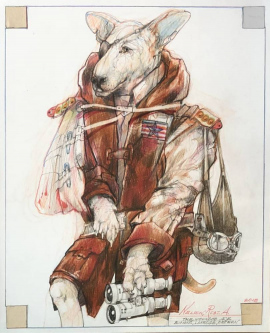 Robert A. Nelson  |  The Wounded Ace, 2018 |  Collage- Pencil, Color Pencil, Watermedia |  17 x 14 | framed |  $1,500. SOLD