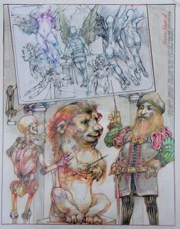 LEONARDO SCHOOLS THE LION IN FIGURE DRAWING - SOLD