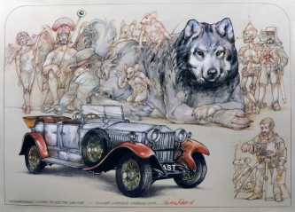 Robert A. Nelson  |  Neighborhood gathers to See the Car, 2012 |  Collage- Pencil, Color Pencil, Watermedia  |  15 x 21 | framed |  $1100. SOLD