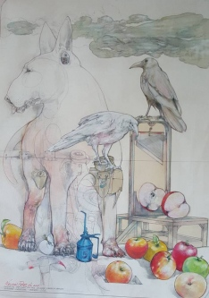 Robert A. Nelson |  French Apples and Bull Terrier, 2017 |  Collage- Color Pencil, Color Pencil, Watermedia |  30 x 22  | framed |  $2,800. SOLD