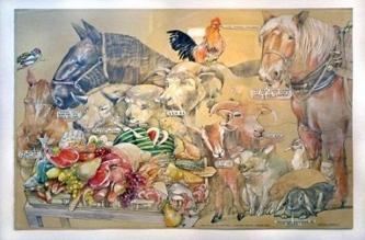 Robert A. Nelson |  The Wrong Barnyard |  Collage - Pencil, Color Pencil, Gouache |  32 x 40 |  $4,000. SOLD