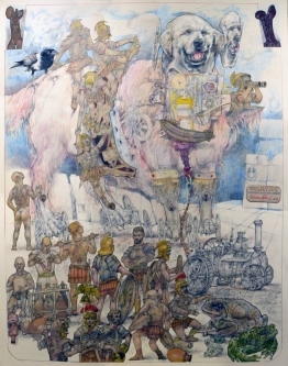 Robert A. Nelson |  The Trojan Dog, 2016 |  Collage- Colored Pencil, Watermedia |  40 x 32  | framed |  $4,000.  SOLD