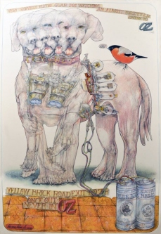 Robert A. Nelson  |  Nervous Border Dogs, 2016 |  Collage- Colored Pencil, Watermedia |  32 X 22  | framed  $2,000. SOLD