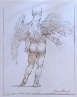 Robert A. Nelson  |  Tall Angel View from the Rear, 2013 |  Pencil, Color Pencil |  14 x 11 |  $250. SOLD