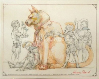 Robert A. Nelson |  Nineth Legion Soldiers Feeding the Cat Mascot, 2013 |  Pencil, Color Pencil, Gouache |  11 x 14 |  $500. SOLD