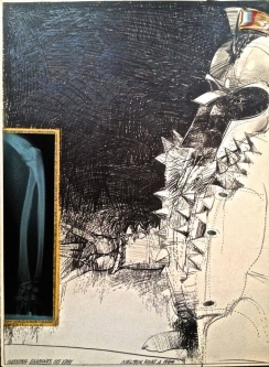 Robert A. Nelson  |  Hannibal Examines his X-ray, 1984 - Release from the Vault |  Pencil, Color Pencil, Watermedia,  X-Ray Film |  30 X 22 |  $1000. SOLD
