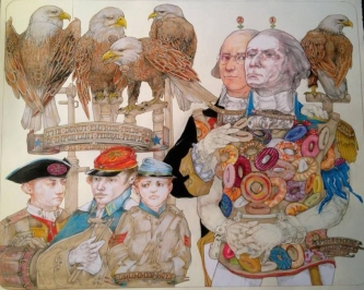 Robert A. Nelson |  The Donut Empress Holds Important Federals as Prisoners, 2014 |  Pencil, Color Pencil, Watercolor |  30 x 40 |  $4,000. SOLD