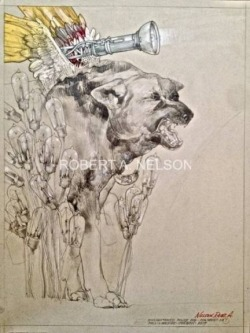 Robert A.  Nelson |  Enlightened Police Dog, 2014 |  Collage- Pencil, Color Pencil, Watermedia |  27 x 20 |  $1,400. SOLD