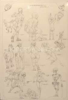BIG SKETCHBOOK PAGE OF UNCOLORED DRAWINGS,  SOLD