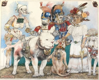 Robert A. Nelson |  Feeding Dorothy's Dogs, 2018  |  Collage- Pencil, Color Pencil, Watermedia |  32 x 40 |  framed |  $5,200. SOLD