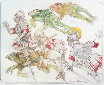 Robert A. Nelson  |  Roman Frog Jumping Race, 2018 |  Pencil, Color Pencil, Watermedia |  14 x 17 | framed |  $1,000. SOLD