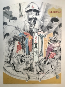 SOLD- Robert A. Nelson |   Released from the Vault |  Armed Zeppelin Figurehead, 1973 |  Collage: Lithograph |  38 x 28 |  $2,400. SOLD