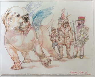 Robert A. Nelson |   French Officer and Bulldog Airplane, 2020 |  Pencil, colored pencil, aquamedia |  14 x 17 |  $900. SOLD