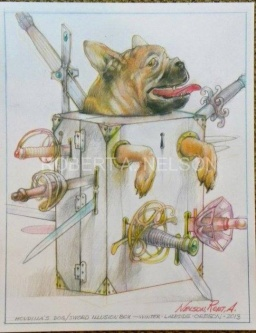 HOUDINA'S DOG / SWORD ILLUSION BOX,  2013 - SOLD