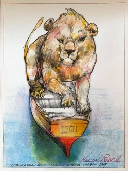 Robert A. Nelson  |  Lion in a Small Boat, 2019 |  Collage- pencil, colored pencil, aquamedia |  12 x 9 | framed |  $1,000. SOLD