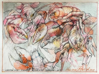 Robert A. Nelson  |  Lobster Pile, 2019 |  Pencil colored, pencil |  13 X 9 |  $800. SOLD