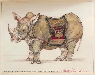 Robert A. Nelson  |  The Rhino Who Sells Cigars, 2019  |  Collage- pencil, colored pencil, aquamedia |  11 x 14  framed |  $1,200. SOLD